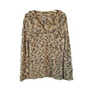 Chico's Multi Color Loose Knit V Neck Sweater 0 XS